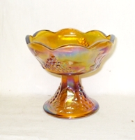 Indiana Glass Harvest Pattern Amber Carnival Candle Holder - Product Image