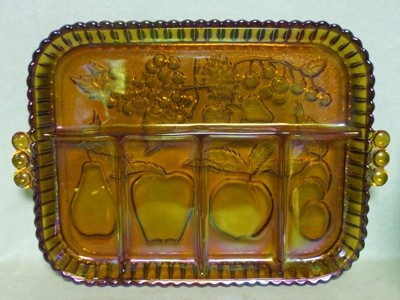 Indiana Glass Harvest Pattern Amber Carnival Divided Relish - Product Image