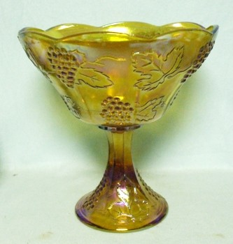 Indiana Glass Harvest Pattern Amber Carnival Large Compote - Product Image