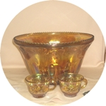 Indiana Glass Harvest Pattern Amber Carnival Punch Set MIB - Product Image