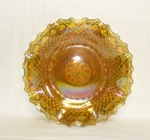 Indiana Glass Harvest Pattern Amber Carnival Ruffled Tray - Product Image