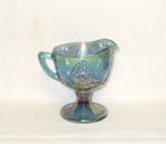 Indiana Glass Harvest Pattern Blue Carnival Creamer - Product Image
