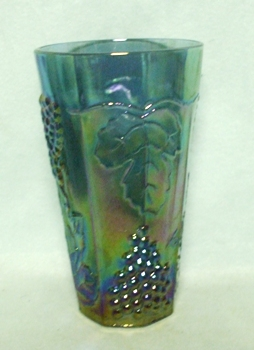 Indiana Glass Harvest Pattern Blue Carnival Iced Tea Tumbler - Product Image