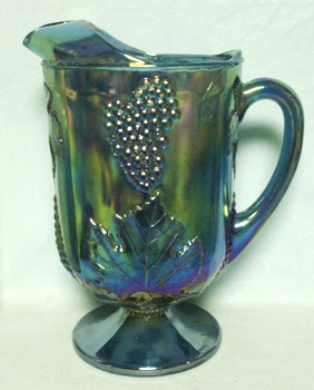 Indiana Glass Harvest Pattern Blue Carnival Water Pitcher - Product Image