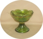 Indiana Glass Harvest Pattern Lime Green Carnival Candle Holder - Product Image