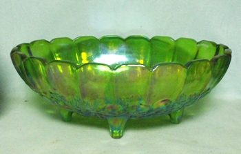 Indiana Glass Harvest Pattern Lime Green Carnival Fruit Bowl - Product Image