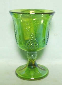 Indiana Glass Harvest Pattern Lime Green Carnival Goblet - Product Image