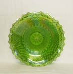 Indiana Glass Harvest Pattern Lime Green Carnival Ruffled Tray - Product Image