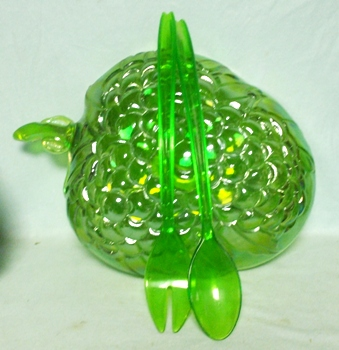 Indiana Glass Harvest Pattern Lime Green Carnival Salad Bowl - Product Image