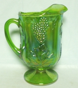 Indiana Glass Harvest Pattern Lime Green Carnival Water Pitcher - Product Image