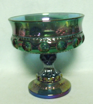 Indiana Glass Kings Crown Blue Carnival Small Compote - Product Image
