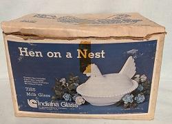 Indiana Glass Milkglass Hen on Nest w Box - Product Image