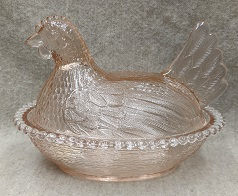 Indiana Glass Pink Glass Hen on Nest - Product Image