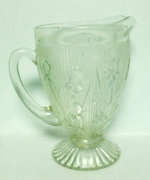 "Iris & Herringbone Clear 9 1/2"" Footed Pitcher. - Product Image"