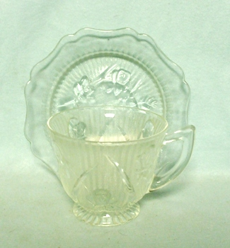 Iris & Herringbone Clear Cup and Saucer Set - Product Image