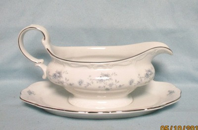 John Haviland Blue Garland Gravy Boat & Tray - Product Image
