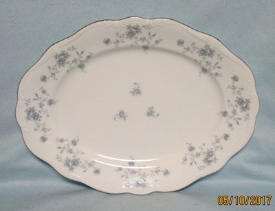 John Haviland Blue Garland Oval Serving Platter - Product Image
