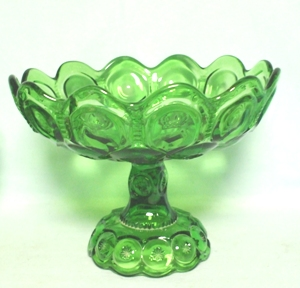 "Moon & Star Antique Green 10"" Crimped Compote - Product Image"