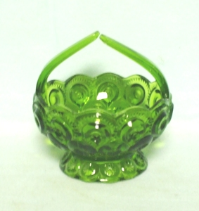 Moon & Star Antique Green #6222 Small Basket w/ Scalloped Foot - Product Image