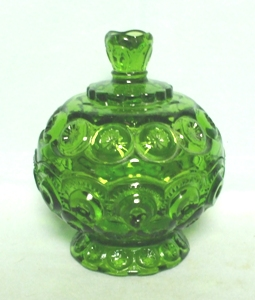Moon & Star Antique Green Small Candy & Lid - Product Image