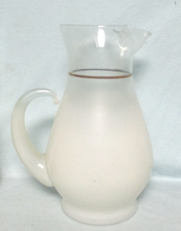 Mountaineer Glass White Frosted Pitcher w Ice Lip - Product Image