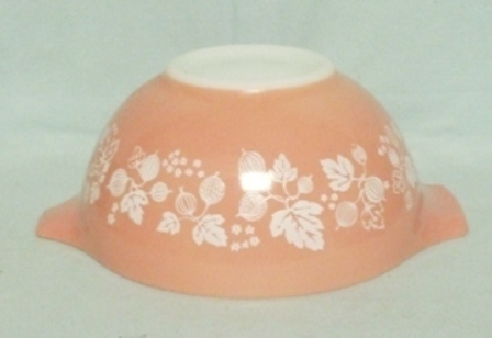 "Pyrex Pink Gooseberry Cinderella Used 7 1/2"" Pink Mixing Bowl - Product Image"