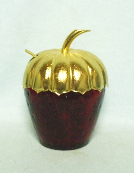 Royal Ruby Avon Strawberry Jam Jar w Gold Top & Spoon - Product Image