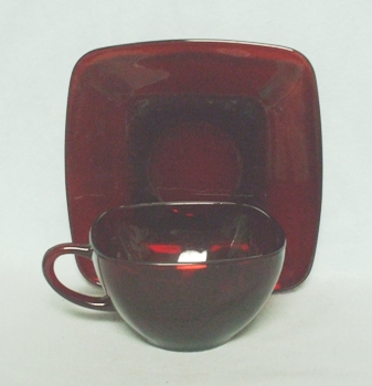 Royal Ruby Charm Square Cup and Saucer Set - Product Image