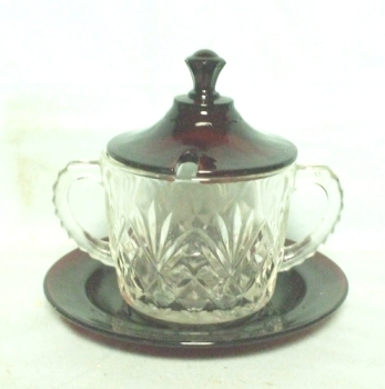 Royal Ruby Rare Crystal Marmalade w Ruby Under Plate & Lid - Product Image
