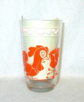 "Swanky Swig Orange Rooster w Dogs 3 3/4"" Tall - Product Image"