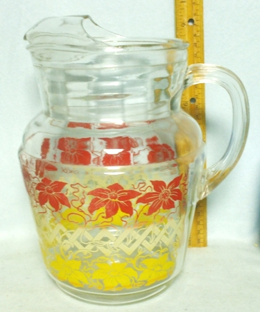 Unknown Maker Mod.White Squiggles Pitcher w Ice Lip - Product Image