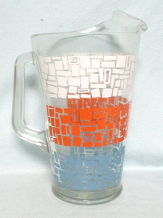 Unknown Maker White,Orange,and Turquoise Pastel Bands Pitcher w Ice Lip - Product Image