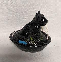 Unmarked Tiny Black & Green Scottie Dog on Nest - Product Image