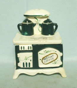 Vintage Cook Stove Instant Coffee Canister w Shakers - Product Image