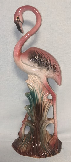 """Vintage Unmarked Standing Flamingo Figurine 10 1/4"""" Tall - Product Image"""