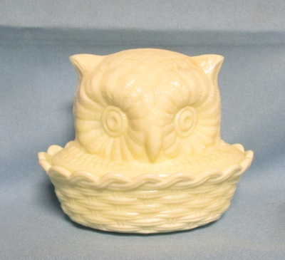 Westmoreland Custard Glass Owl on the Nest - Product Image