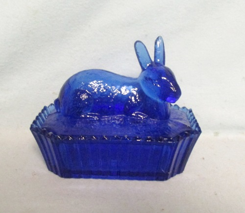 Westmoreland Medium Cobalt Blue Glass Rabbit on Nest - Product Image