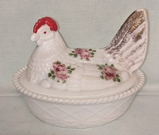 Westmoreland Milkglass Hand Painted Hen on Nest - Product Image